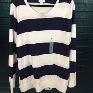NWT Old Navy Blue and White Striped Sweater XXL